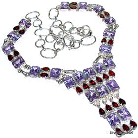 Topaz Sterling Silver Necklace. Silver Gemstone Necklace.