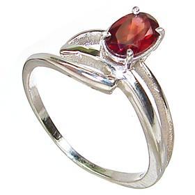 Fabulous Garnet Sterling Silver Ring Size R 1/2