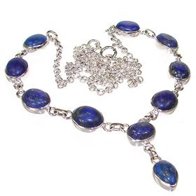 Lapis Lazuli Sterling Silver Necklace Jewellery 20 inches long