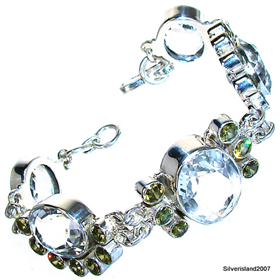 Topaz Sterling Silver Bracelet. Silver Gemstone Bracelet