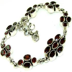 Garnet  925 Silver Bracelet