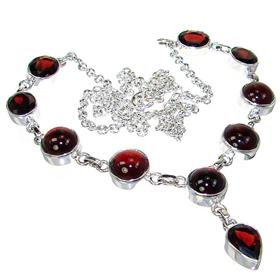 Elegant Garnet Sterling Silver Necklace 20 inches long