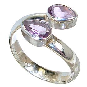 Delightful Amethyst Sterling Silver Ring size P 1/2