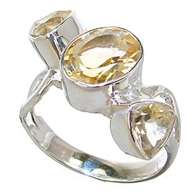 Artisan Citrine Sterling Silver Ring size Q 1/2