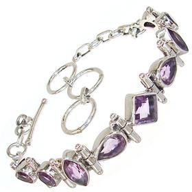 Elegant Amethyst Sterling Silver Bracelet