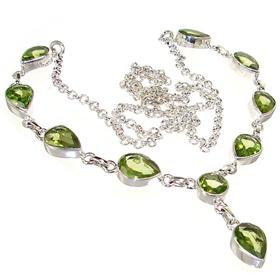 Elegant Peridot Sterling Silver Necklace 20 inches long