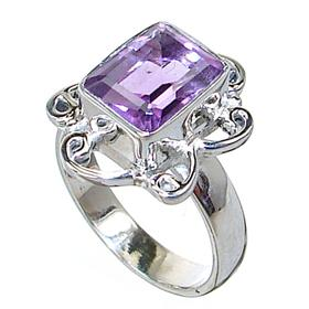Delightful Amethyst Sterling Silver Ring size L 1/2