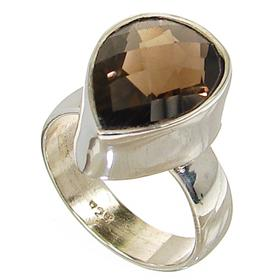 Smoky Quartz  Sterling Silver Ring size P 1/2