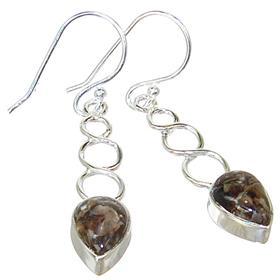 Turritella Fossil Sterling Silver Gemstone Earrings