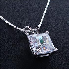 White Quartz Sterling Silver Necklace lenght 18 inches