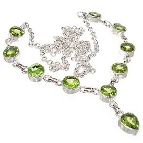 Elegant Peridot Sterling Silver Necklace 19 inches long