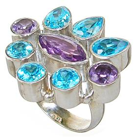 Chunky Royal Amethyst Sterling Silver Ring size M 1/2