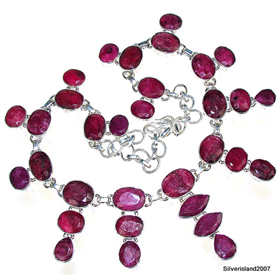 Ruby Sterling Silver Necklace. Silver Gemstone Necklace.