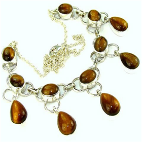 Tiger Eye  925 Silver Necklace