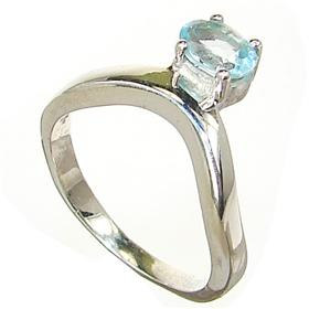 Blue Topaz Sterling Silver Ring size P 1/2