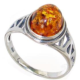 Polish Baltic Amber Sterling Silver Gemstone Ring size P 1/2