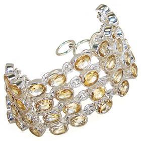 Fantastic Chunky Citrine Sterling Silver Bracelet