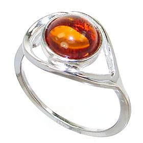 Polish Baltic Amber Sterling Silver Gemstone Ring size P 1/2