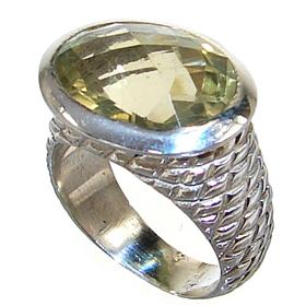 Chunky Sunny Citrine Sterling Silver Ring size O 1/2
