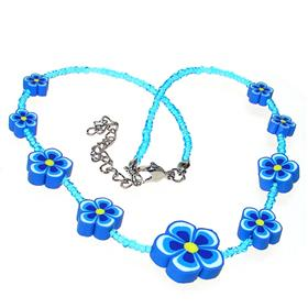 Blue Children Flower Fashion Necklace 14 inches long