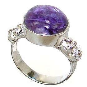 Siberian Charoite Sterling Silver Ring Size N 1/2