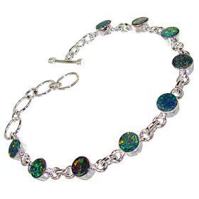 Rare Sparkle Opal Sterling Silver Bracelet