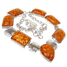 Large Pressed Amber Sterling Silver Necklace 18 inches long