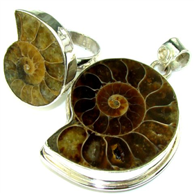 Ammonite Fossil Sterling Silver Set. Silver Gemstone Set.