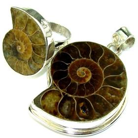 Ammonite Fossil Sterling Silver Set. Silver Gemstone Set.