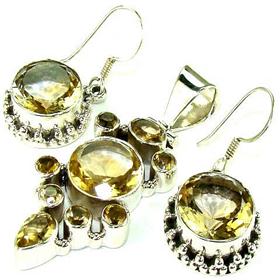 Citrine Sterling Silver Set. Silver Gemstone Set.