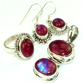 Red Moonstone  925 Silver Set