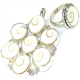 Shiva Shell Sterling Silver Set. Silver Gemstone Set.