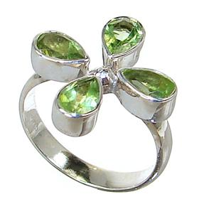 Fancy Royal Peridot Sterling Silver Ring size L