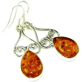 Amber Sterling Silver Earrings. Silver Gemstone Earrings.