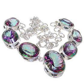 Chunky Mystic Topaz Sterling Silver Necklace 19 inches long
