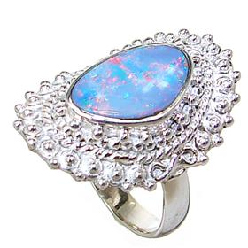 Sparkle Opal Sterling Silver Ring Size L 1/2