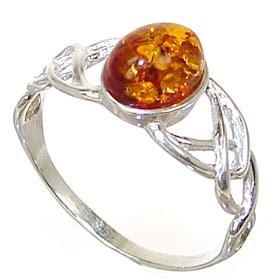 Honey Amber Sterling Silver Gemstone Ring size N 1/2