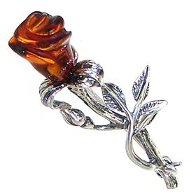 Polish Baltic Amber Sterling Silver Brooch