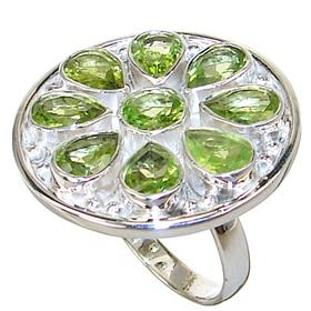 Large Peridot Sterling Silver Ring size Q 1/2