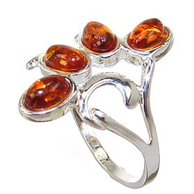 Honey Amber Sterling Silver Gemstone Ring size R 1/2