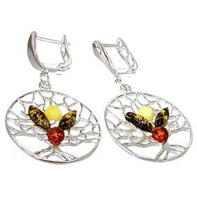 Large Polish Baltic Amber Sterling Silver Earrings
