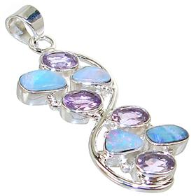 Rare Sparkle Opal Amethyst Sterling Silver Pendant