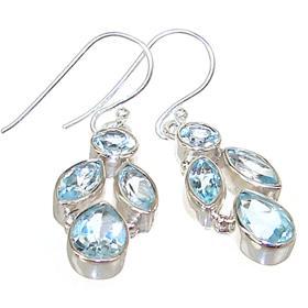 Amazing Blue Topaz Sterling Silver Earrings
