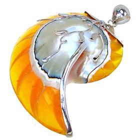 Giant Created Ammonite Fossil Sterling Silver Pendant