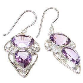 Large Royal Amethyst Sterling Silver Earrings