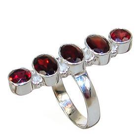 Royal Garnet Sterling Silver Ring Size N