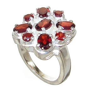 Chunky Garnet Sterling Silver Ring Size N