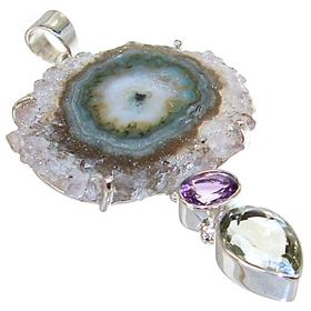 Large Amethyst Cluster Sterling Silver Pendant
