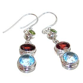 Blue Topaz Garnet Peridot Sterling Silver Earrings