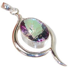 Large Mystic Topaz Sterling Silver Pendant